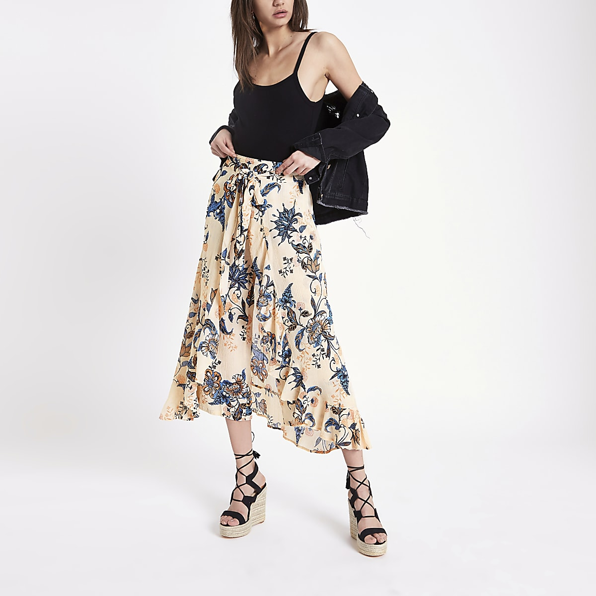 Cream floral wide leg pants
