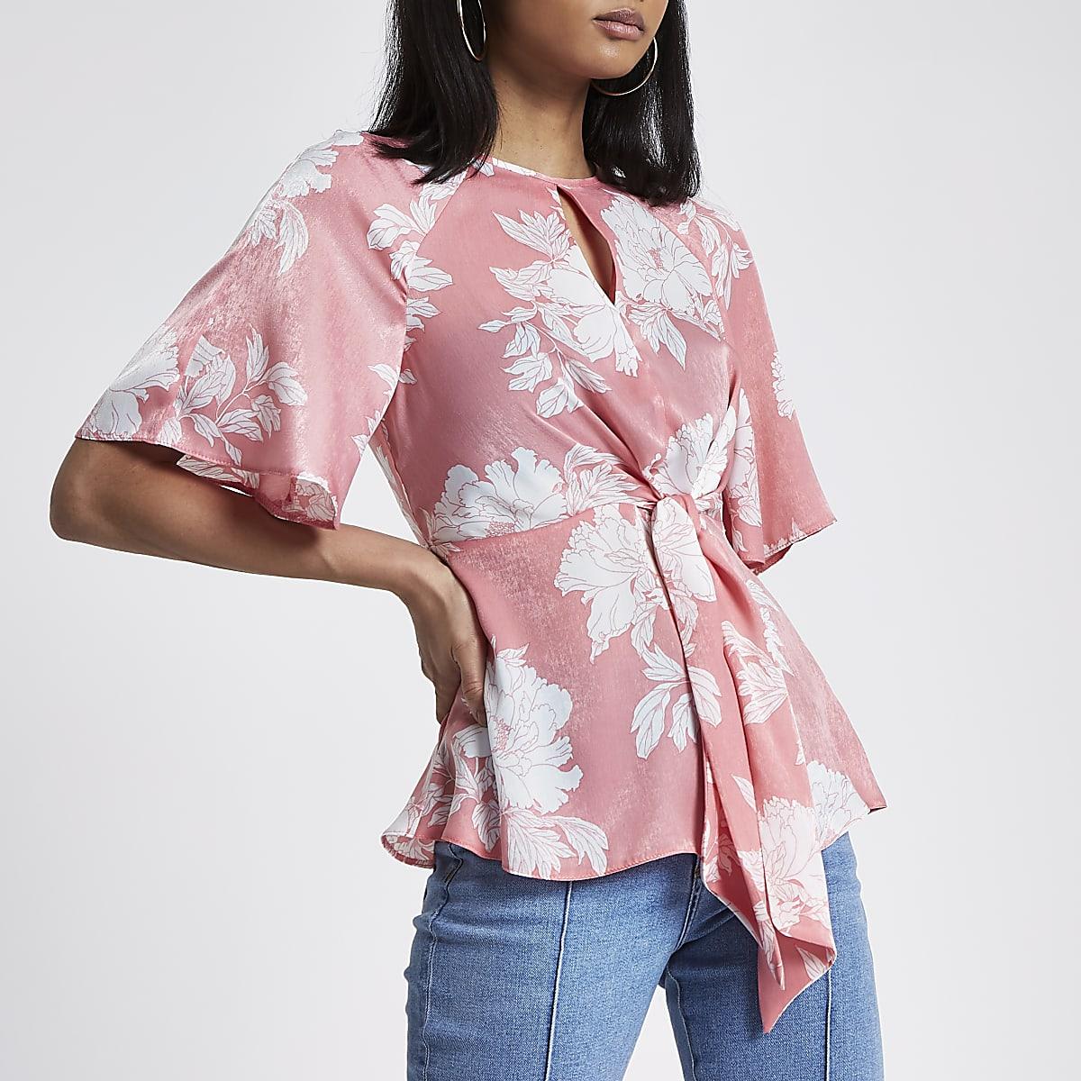 fd7938409f038c Pink floral print tie front frill hem blouse - Blouses - Tops - women