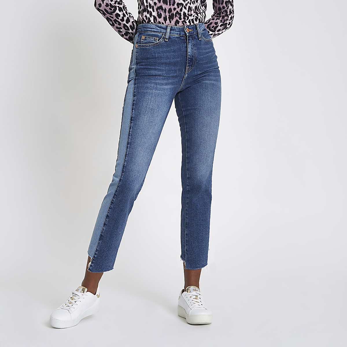 Mid blue Bella straight leg panel jeans