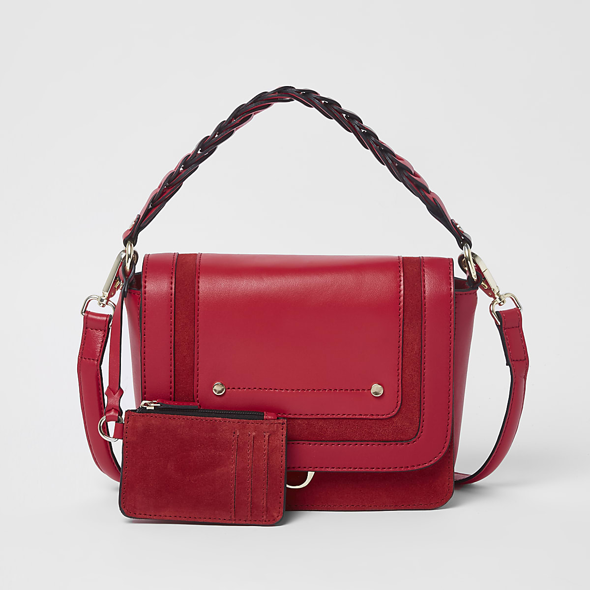 Red leather braided flap front cross body bag