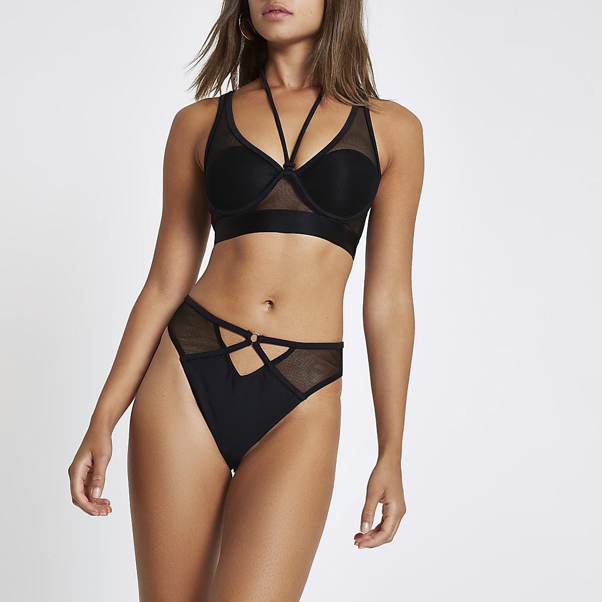 Black mesh high leg bikini bottoms