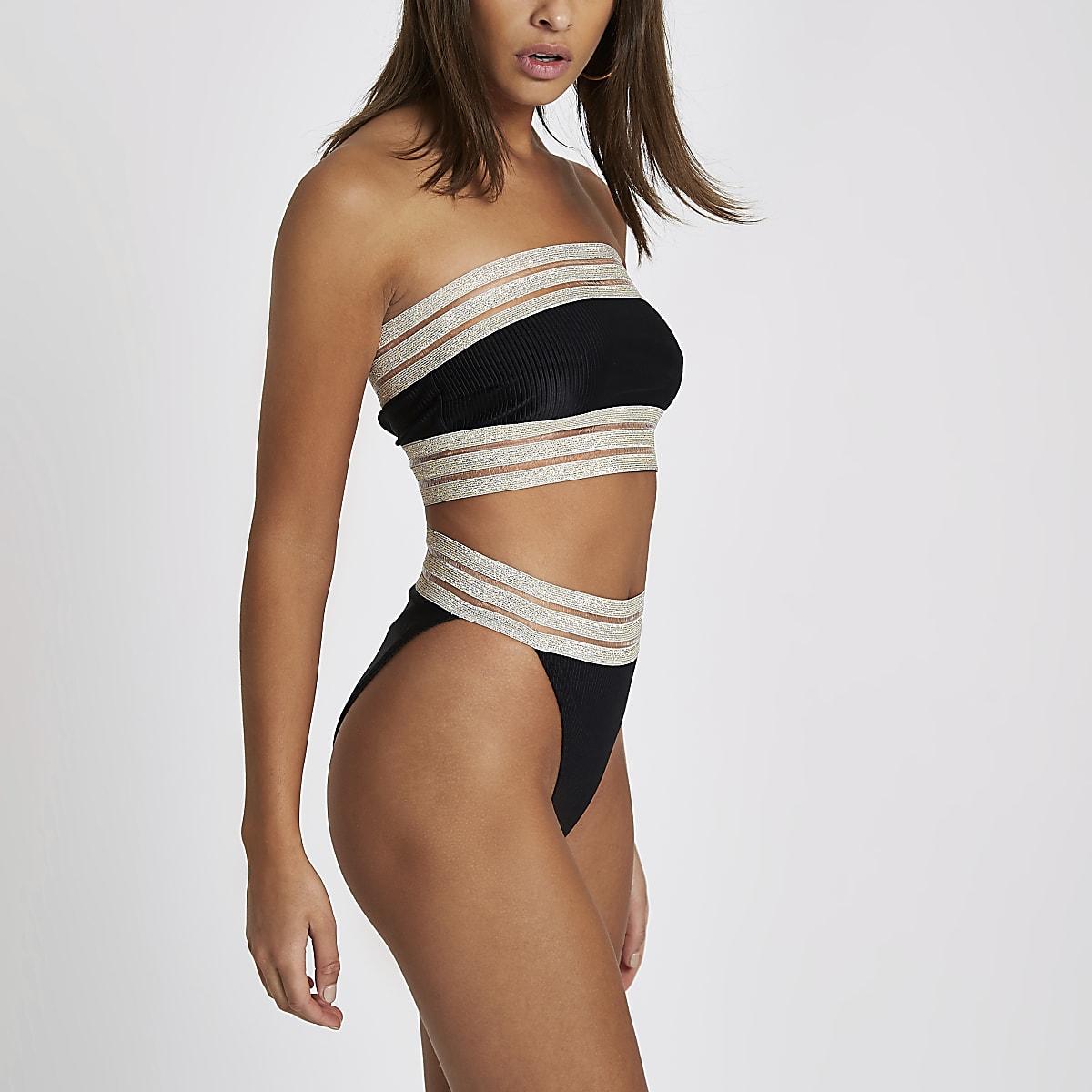 3fb87d9268a Black ribbed elastic high leg bikini bottoms - Bikini Bottoms ...