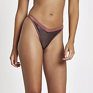 Dark red mesh high leg bikini bottoms