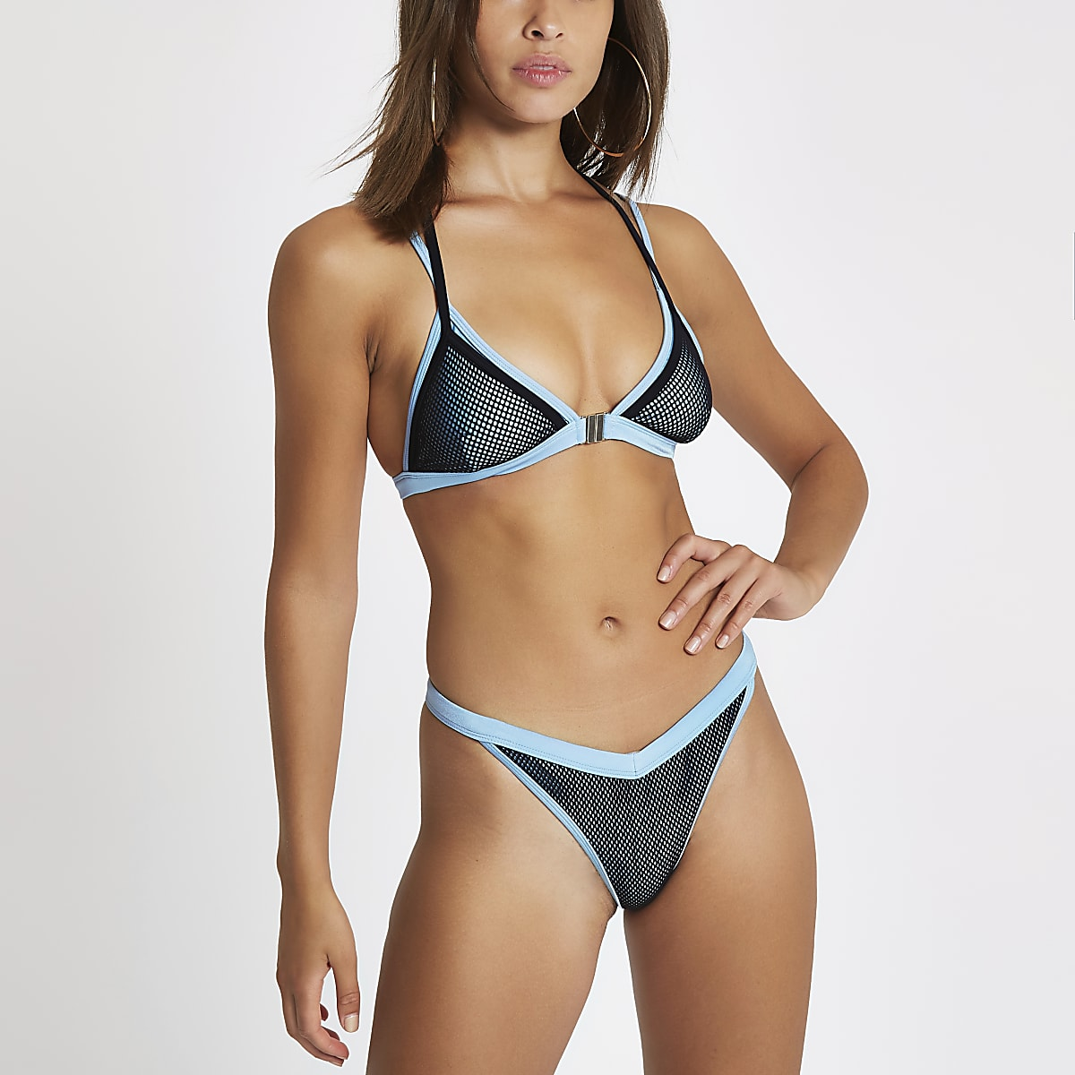 Blauwe mesh hoog opgesneden bikinibroekje