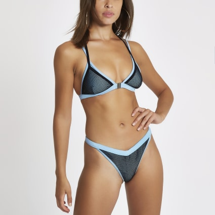 Blue mesh high leg bikini bottoms