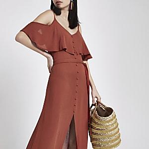 f33548cfcbadc Yellow floral print cold shoulder maxi dress - Maxi Dresses ...
