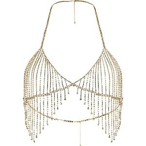 Gold tone diamante embellished bralet