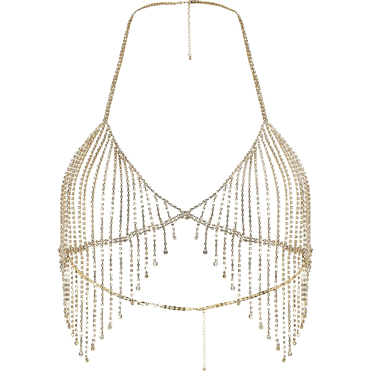df1dd158f39656 Gold tone diamante embellished bralet - Body Jewellery   Harnesses -  Jewellery - women