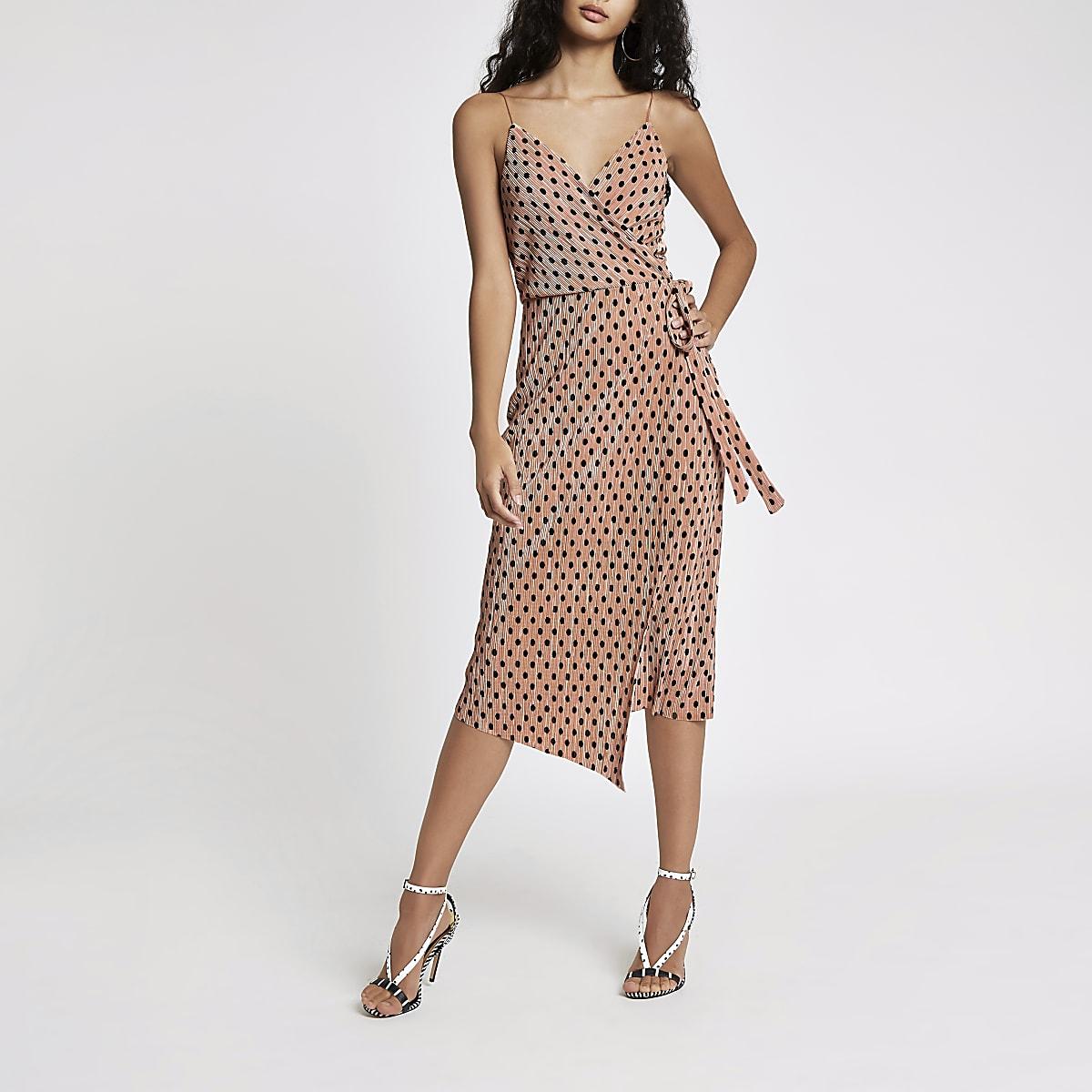 1c4ad1f7abd3 Pink plisse spot wrap midi slip dress - Slip & Cami Dresses ...
