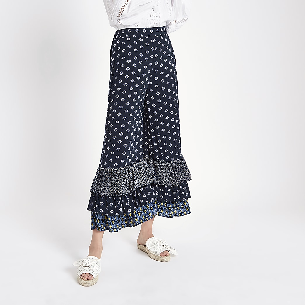 Blue print tiered frill culottes