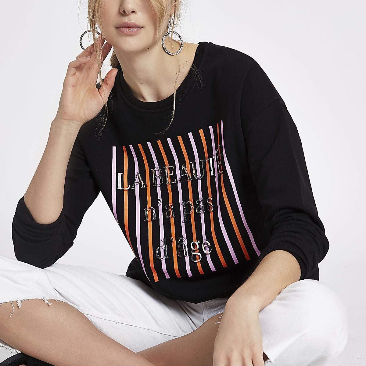 Zwart sweatshirt met 'la beaute'-print in reliëf