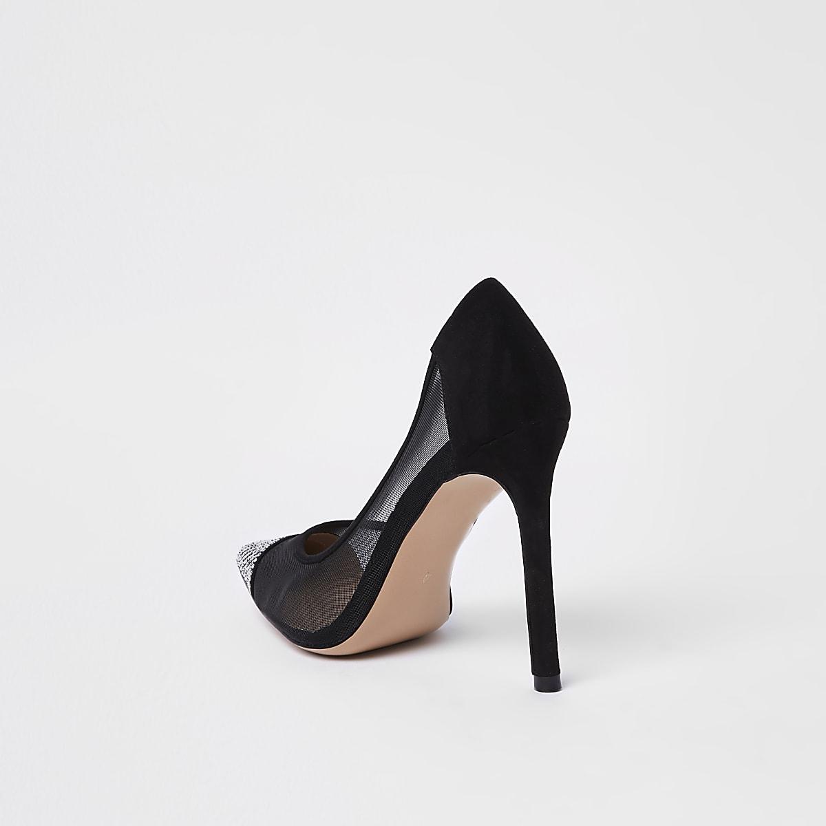 ba89e7541ff49f Escarpins en tulle noirs ornés de strass - Chaussures - Chaussures ...