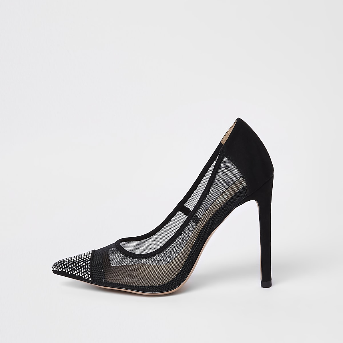 Black mesh diamante court shoe