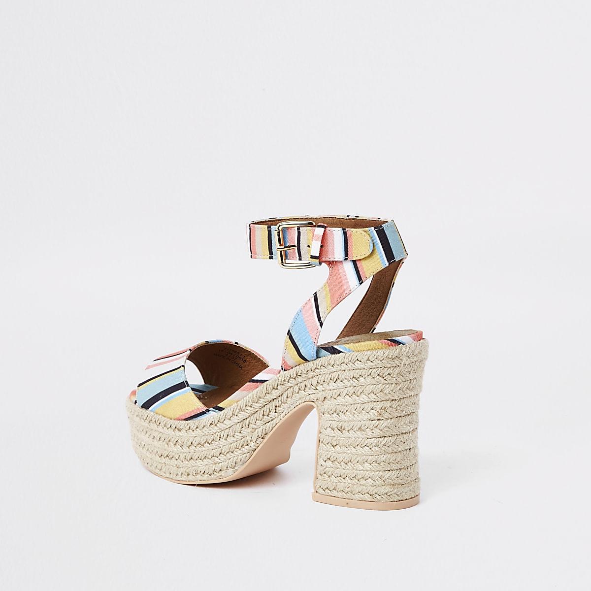 4cdaf8d6734 White stripe Caroline Flack block heel sandal - Sandals - Shoes ...