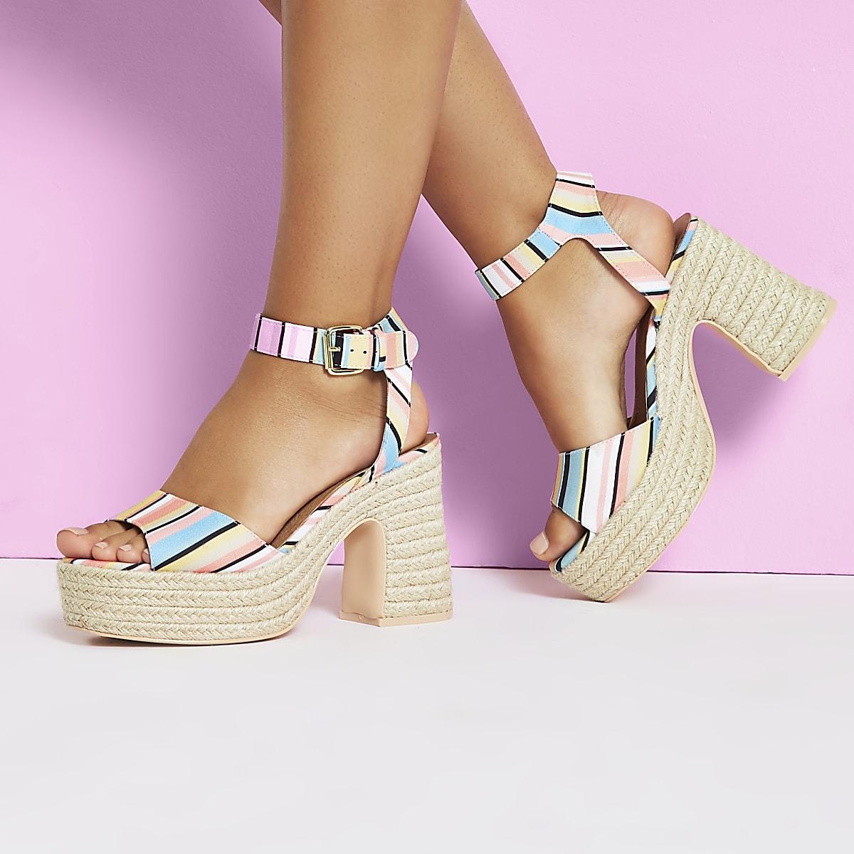 06d9d610b34 White stripe Caroline Flack block heel sandal - Sandals - Shoes   Boots -  women