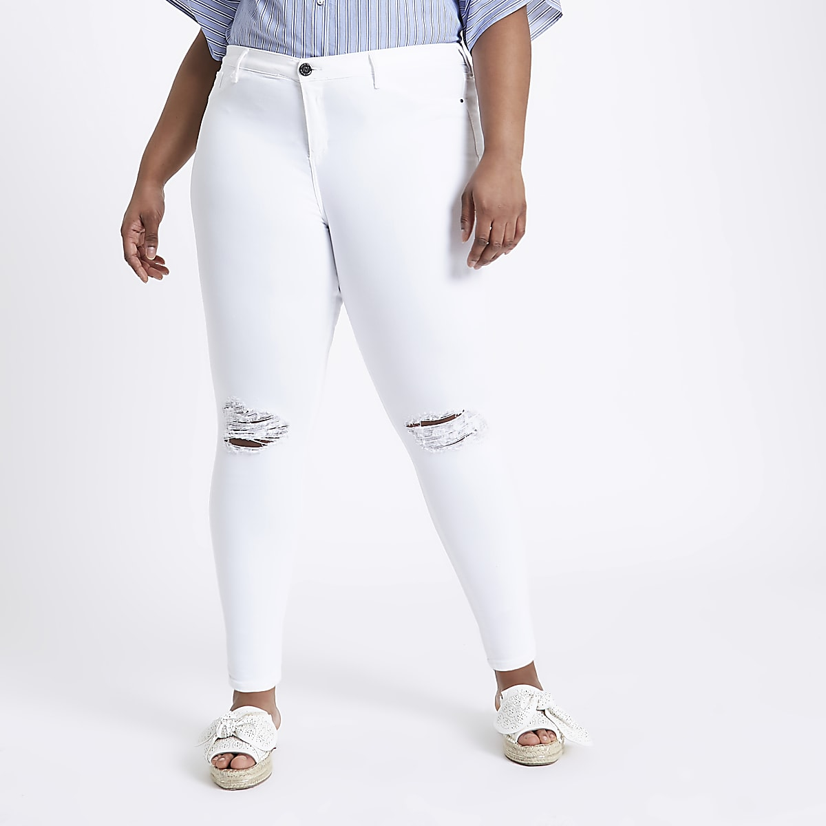 a37043d88ac  Plus white molly ripped jeans - Jeggings - Jeans - women