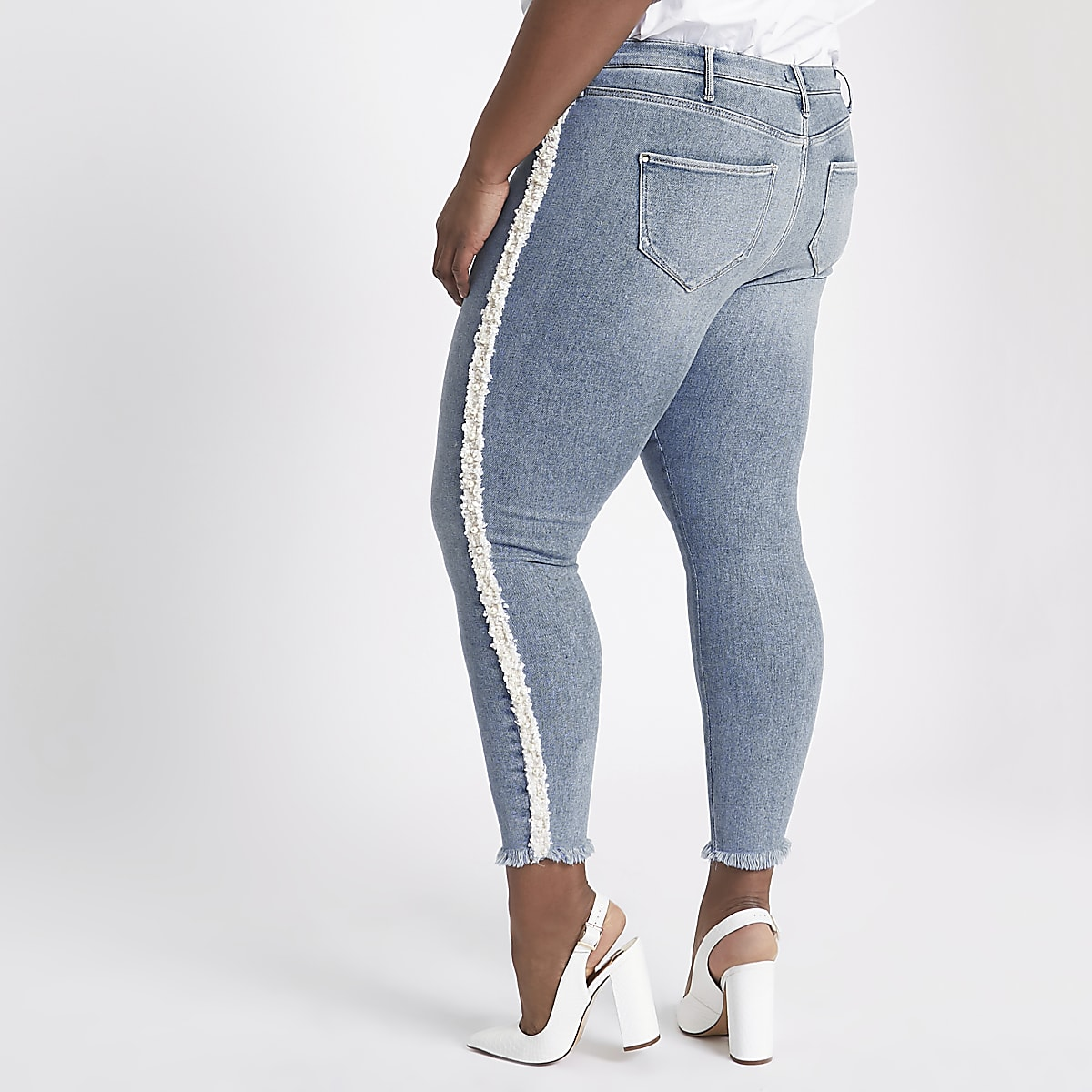 89670c2afc680 Plus Blue Molly pearl embellished jeggings - Jeggings - Jeans - women
