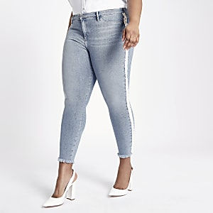 Plus Blue Molly pearl embellished jeggings