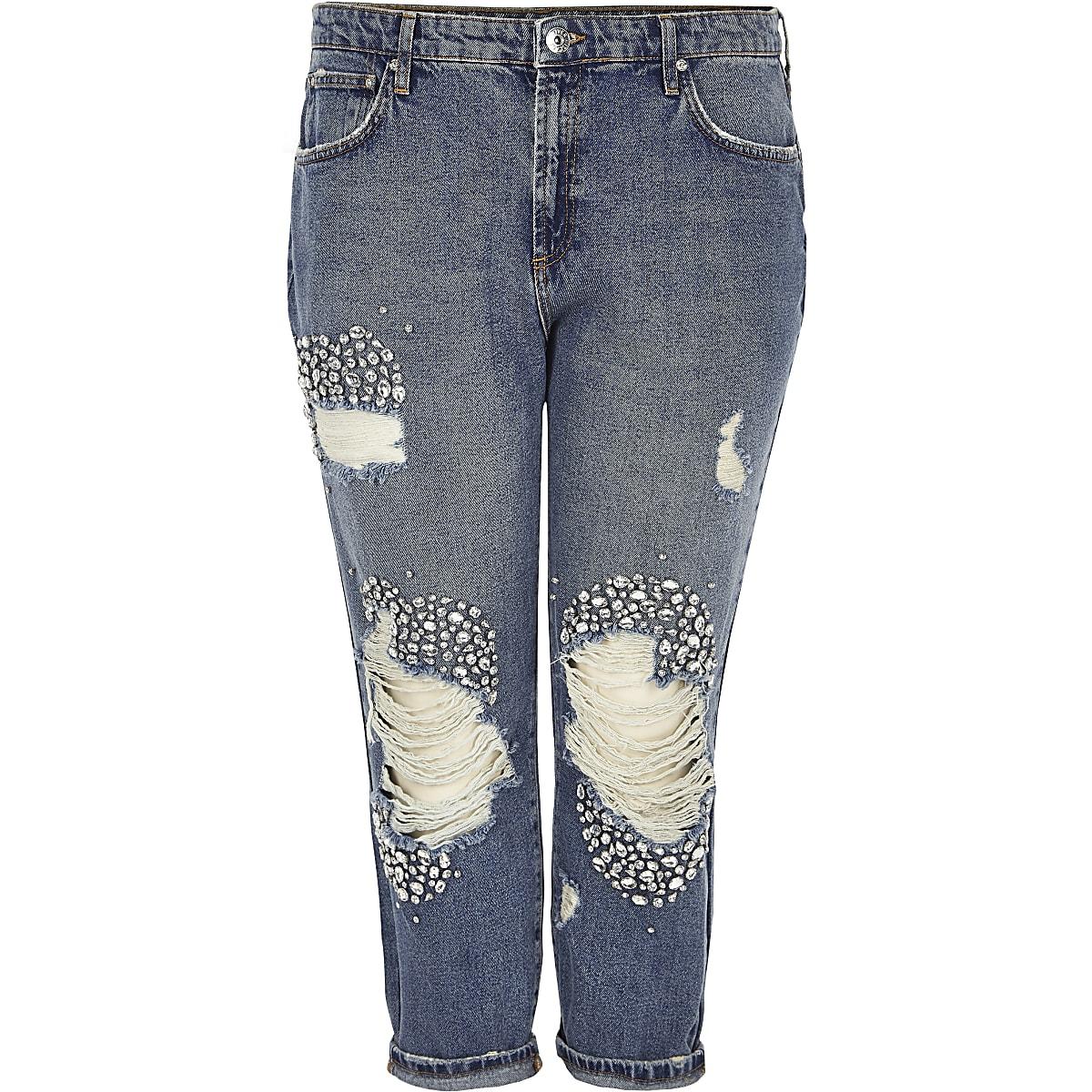 Plus blue embellished ripped boyfriend jeans