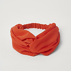 Red wide twist headband