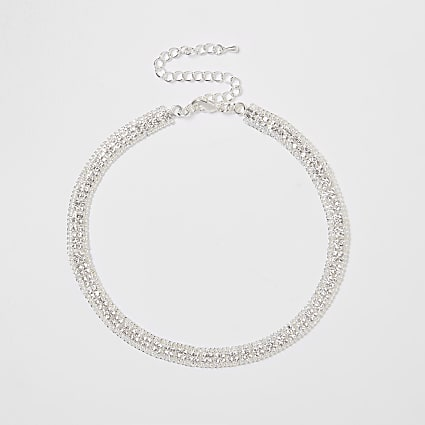 Silver colour square pave choker