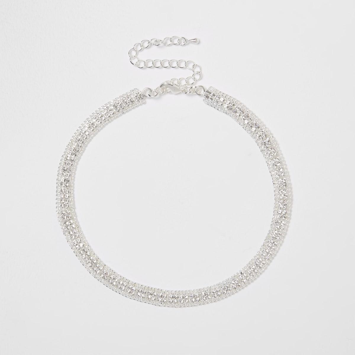 Zilverkleurige chokerketting met siersteentjes