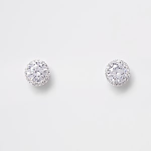 Silver plated cubic zirconia diamante earring