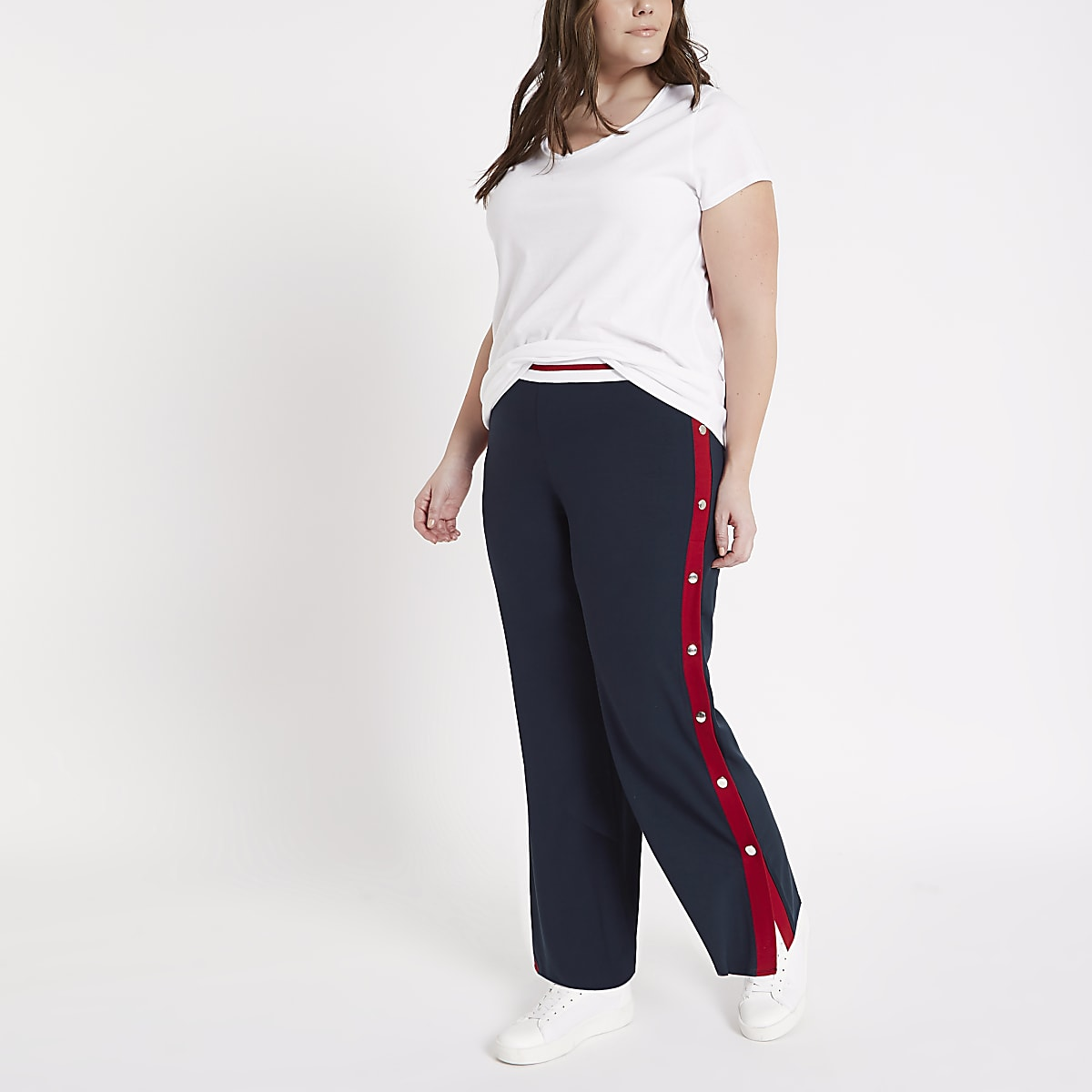 Plus navy color block popper side joggers