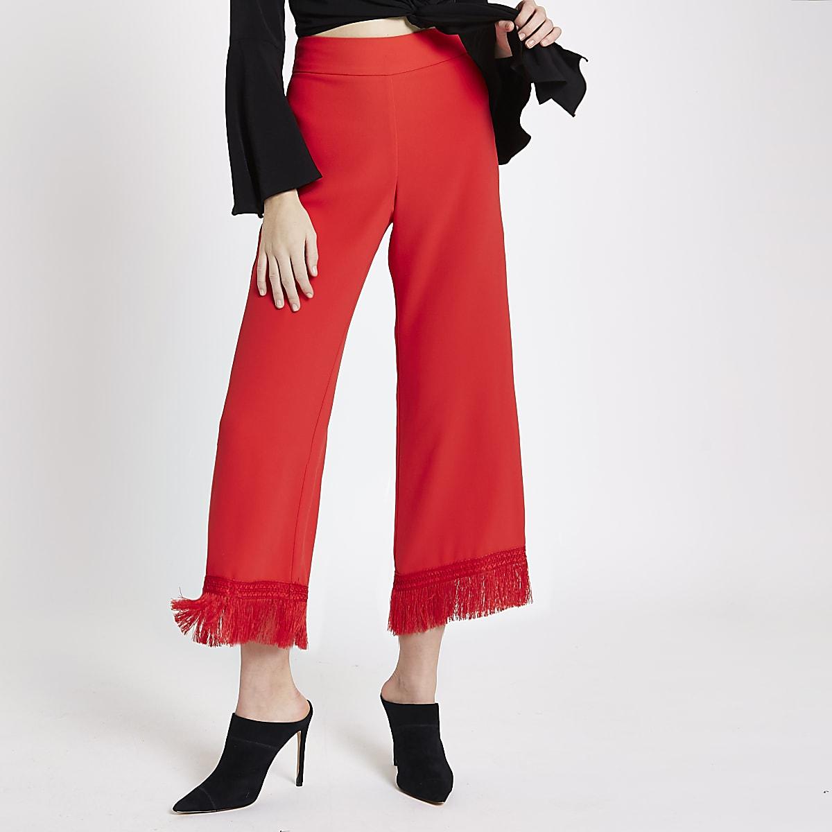 Red tassel hem cropped culottes