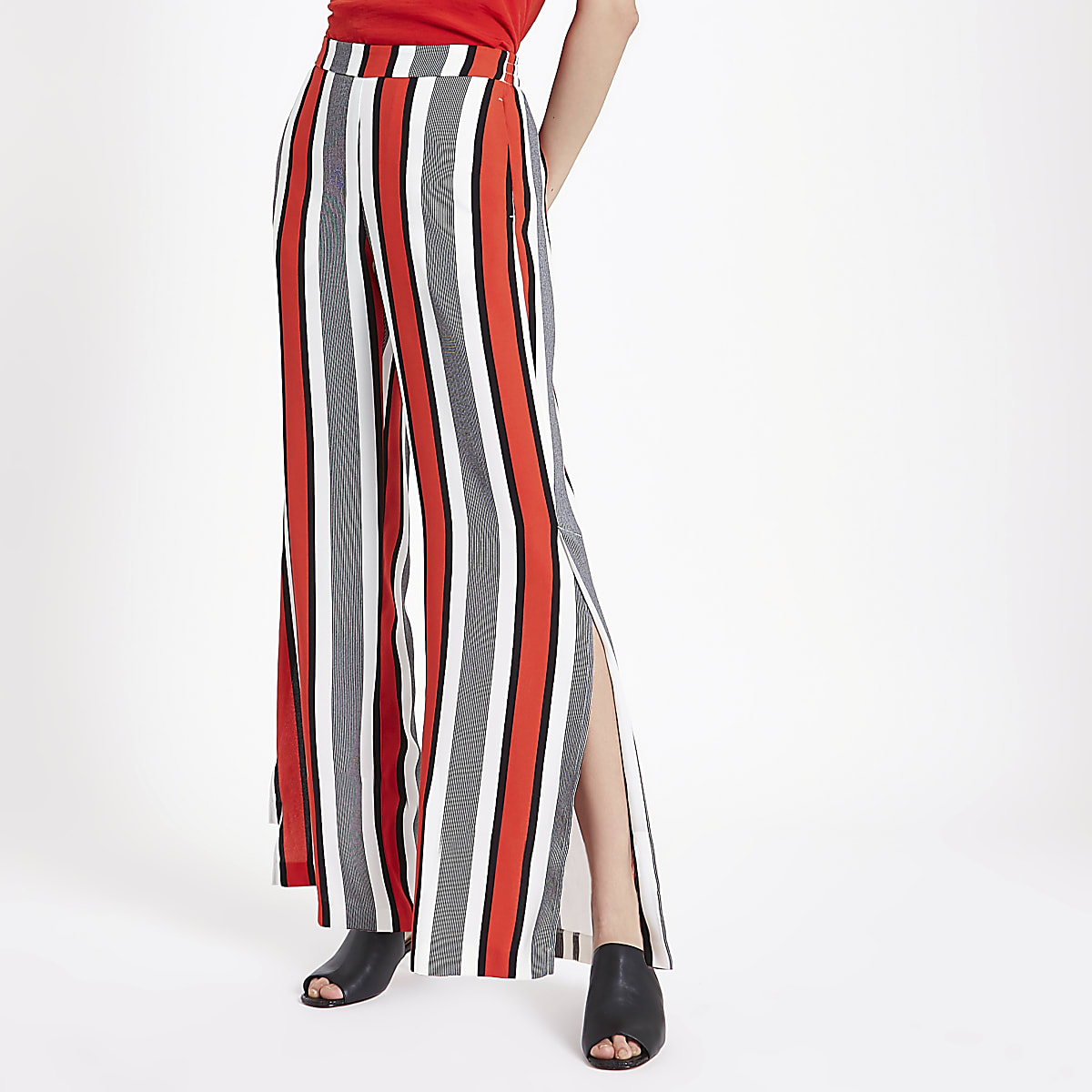 Red stripe wide leg pants