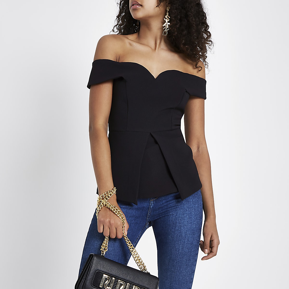 Black structured bardot top