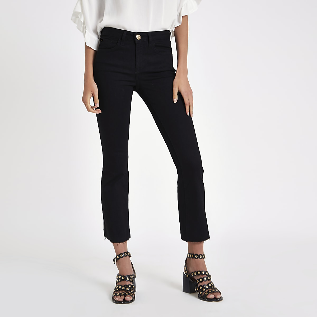 Black denim cropped flared jeans