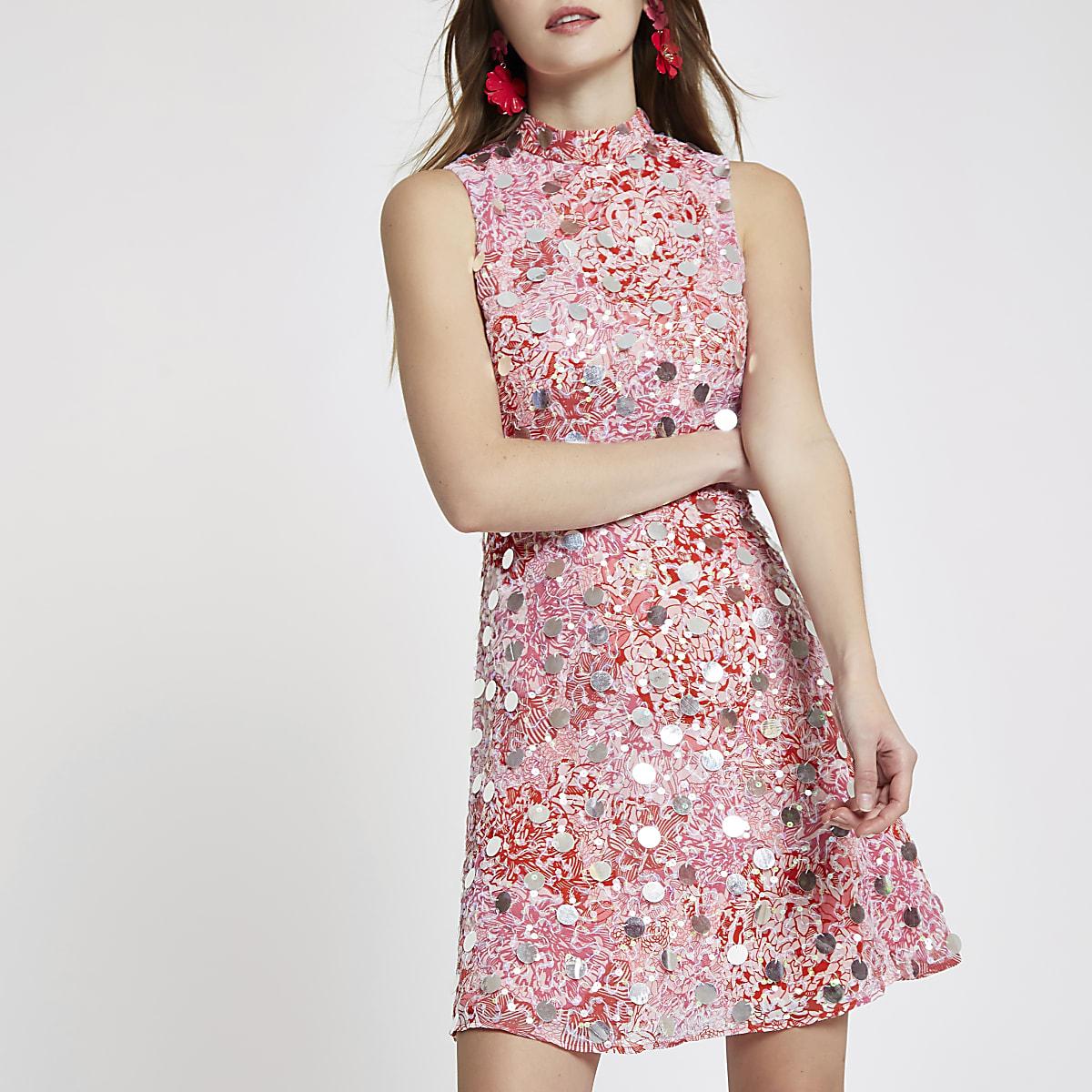 Pink sequin embellished mini dress