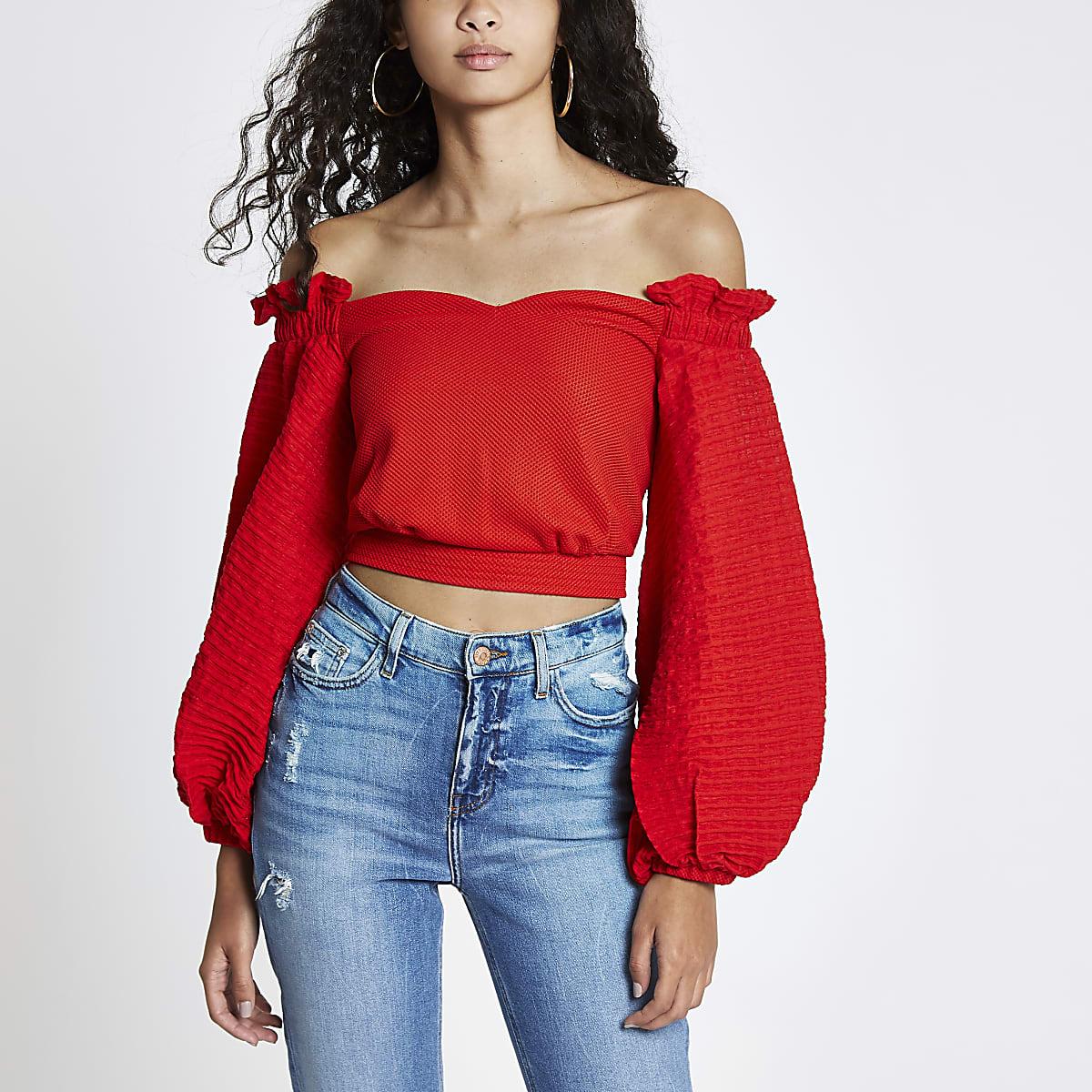 5010920786e Red textured puff sleeve bardot crop top
