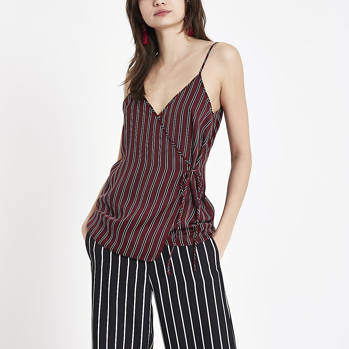 Red stripe wrap cami top