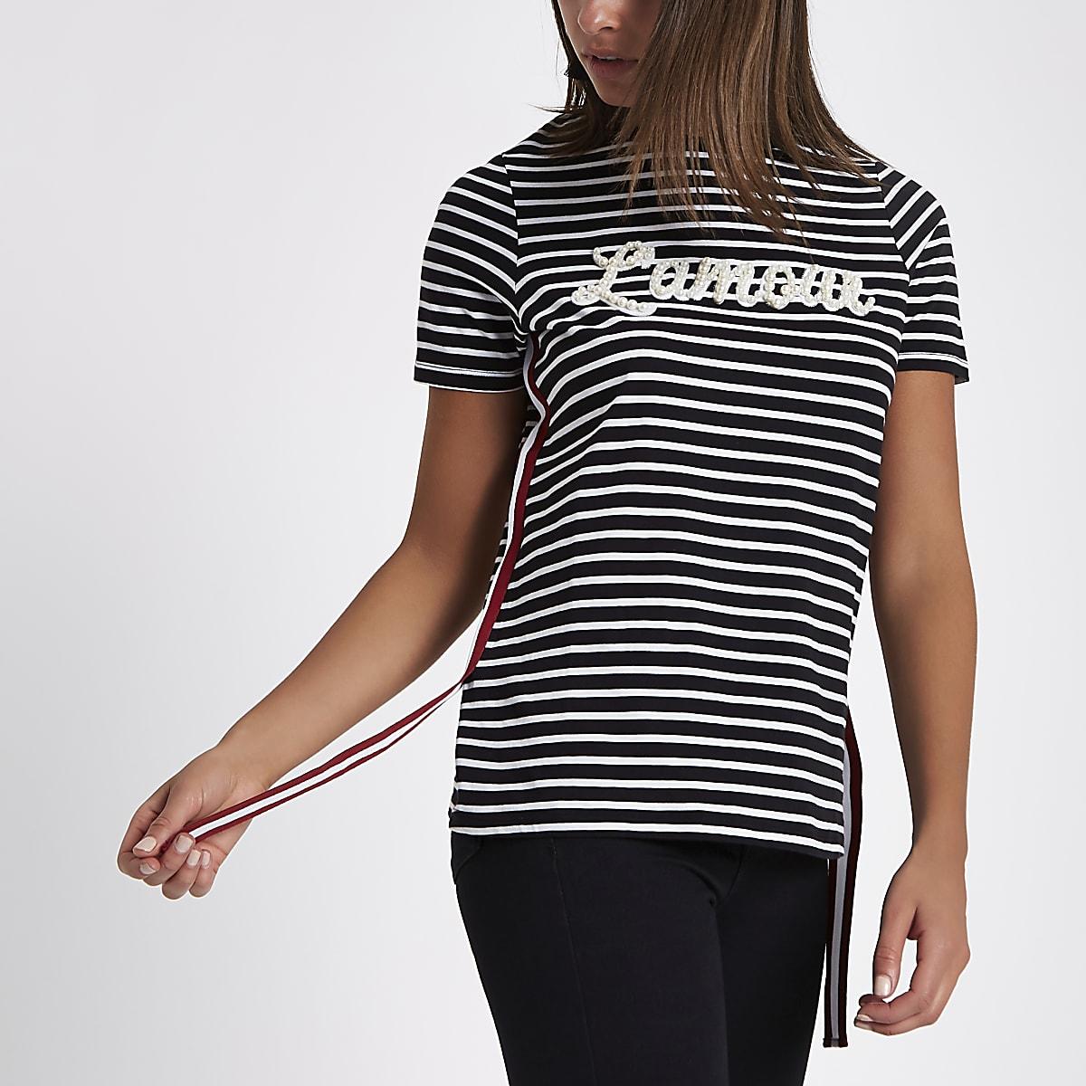Zwart T-shirt met 'Lamour'-print, strepen en tape opzij