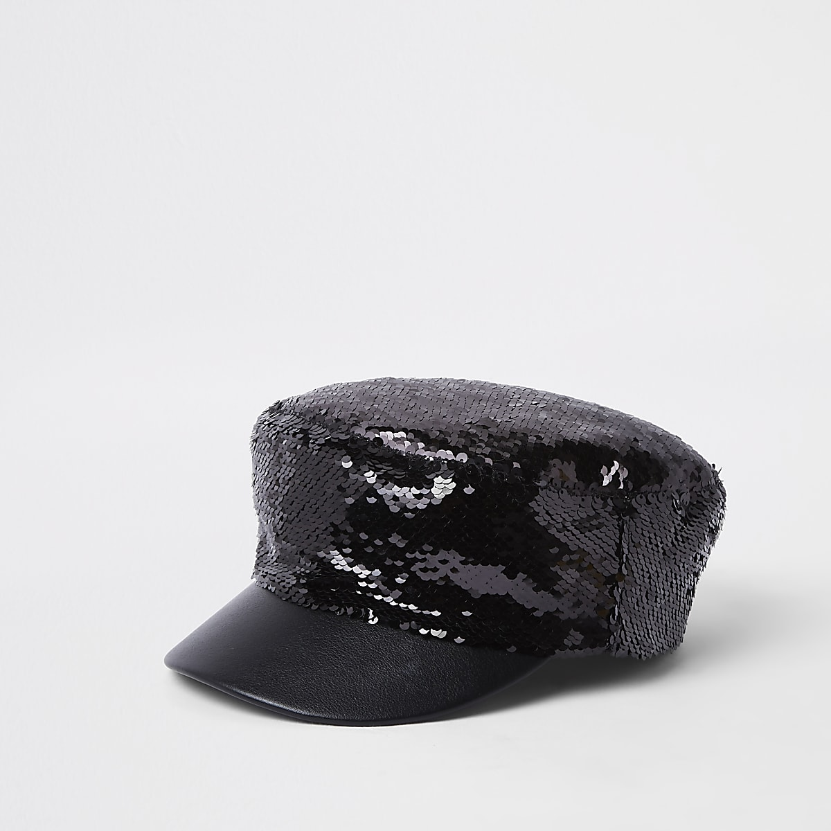 Black sequin baker boy hat