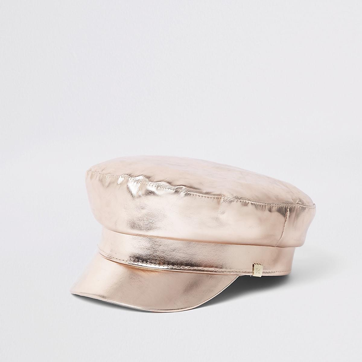 Rose gold metallic baker hat