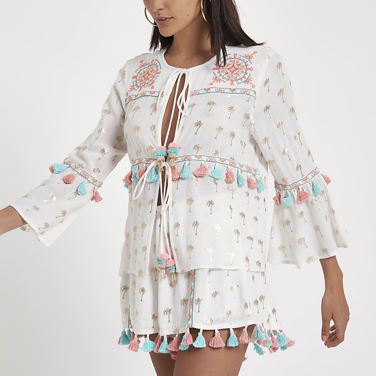 White tassel palm print beach kaftan