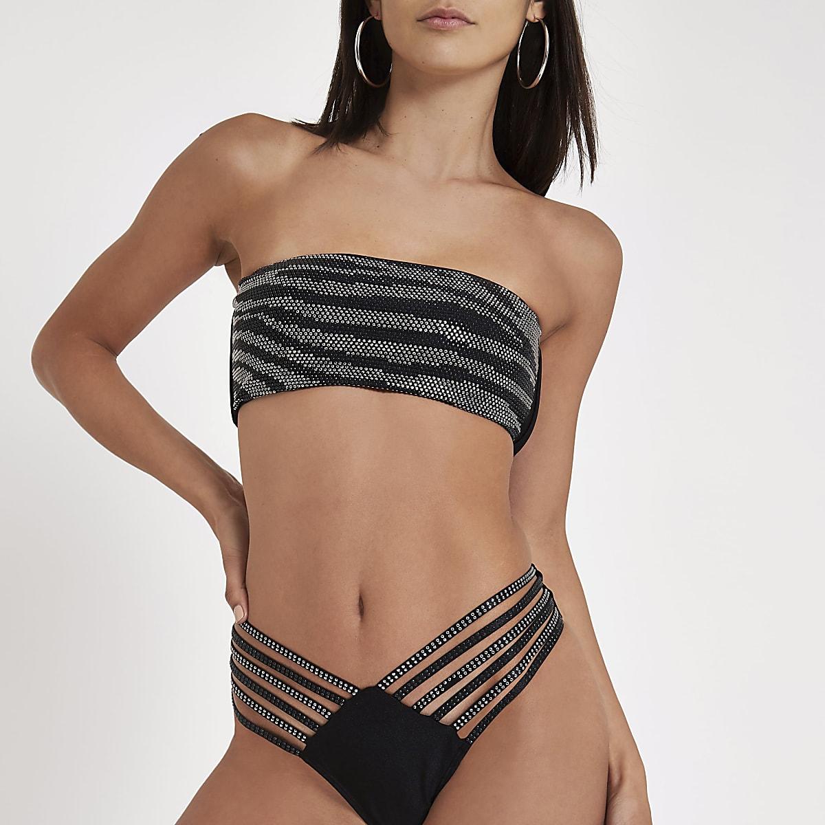 Black bandeau sequin embellished bikini top