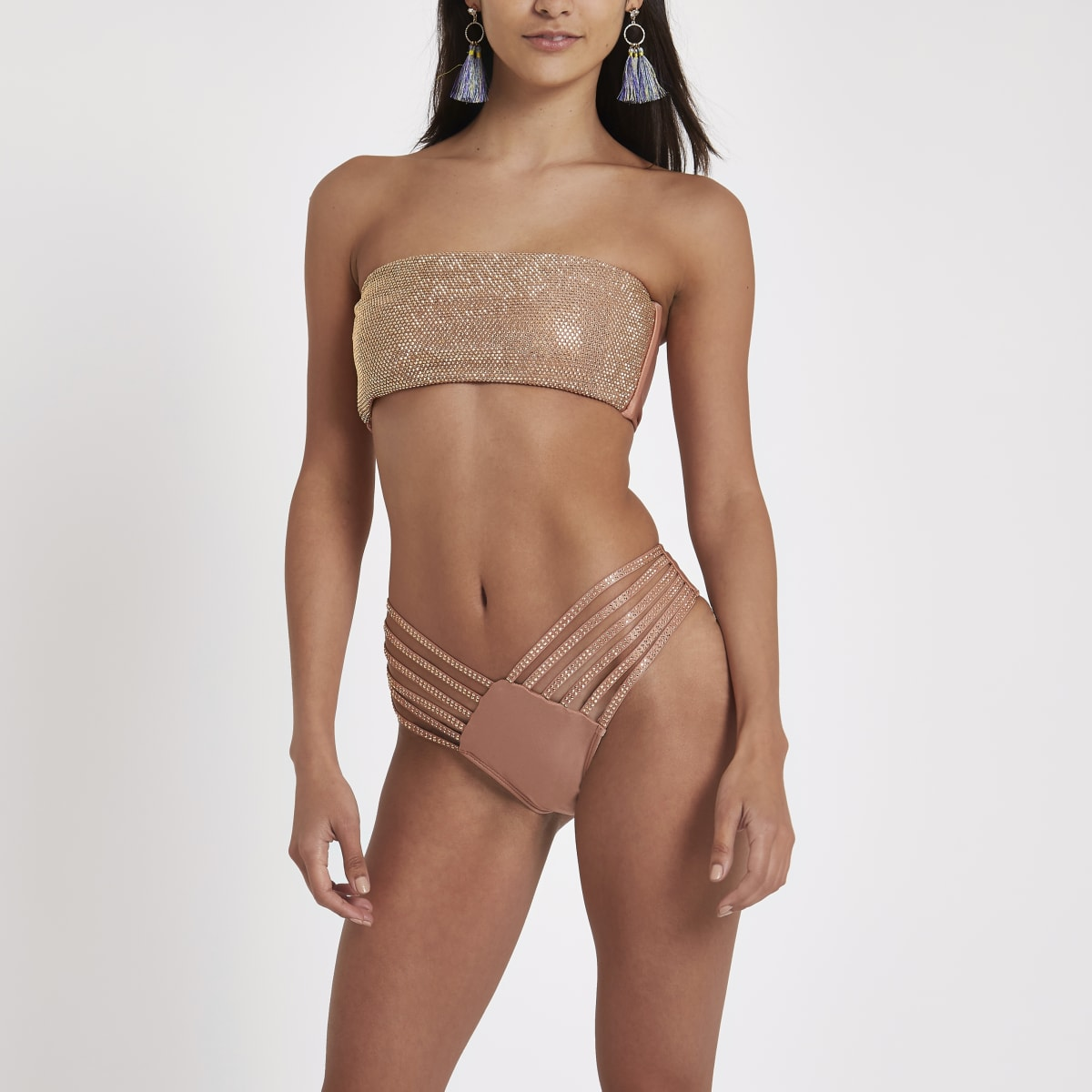 Brown strappy sequin bikini bottoms