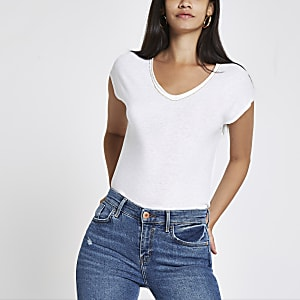 White rhinestone trim V neck slouch T-shirt