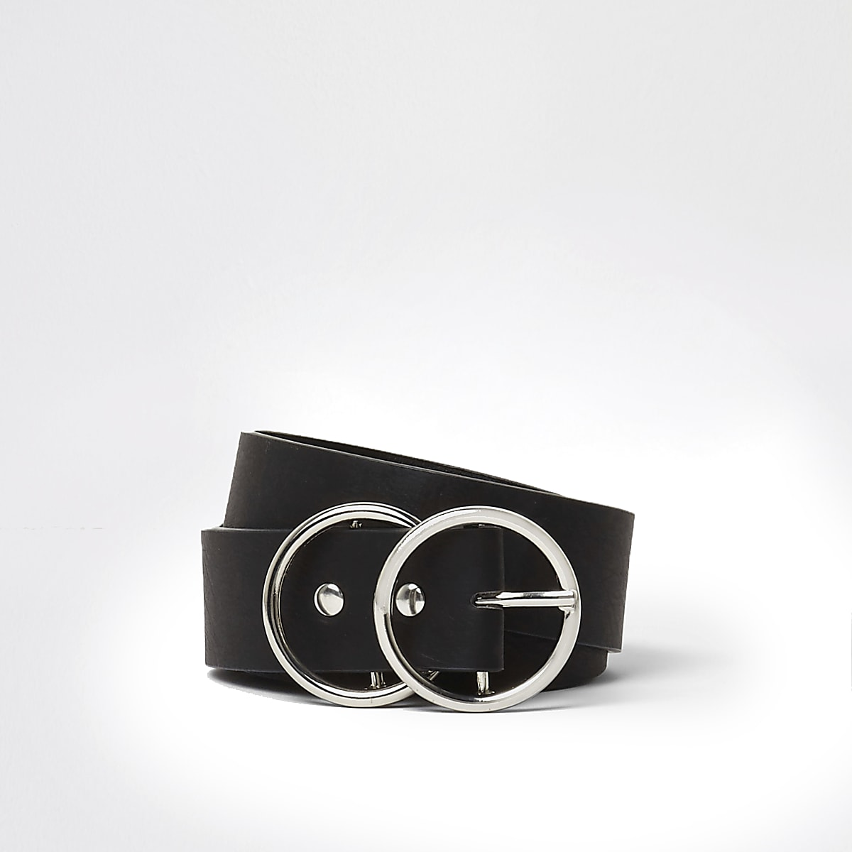 Black double ring buckle jeans belt