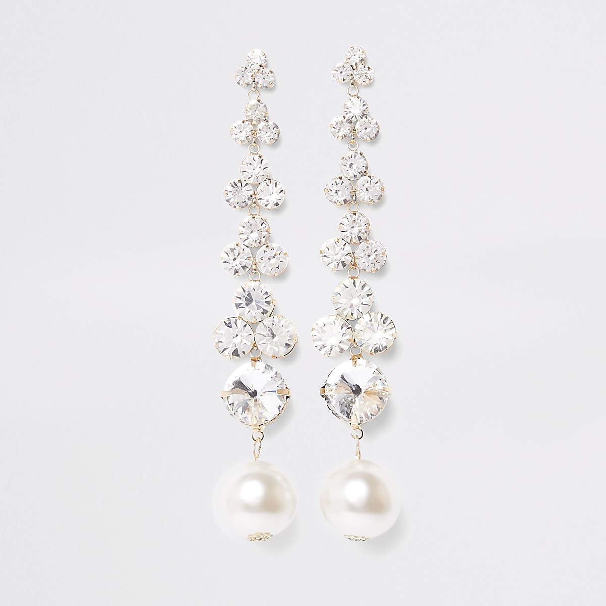 Gold tone diamante pearl drop earrings