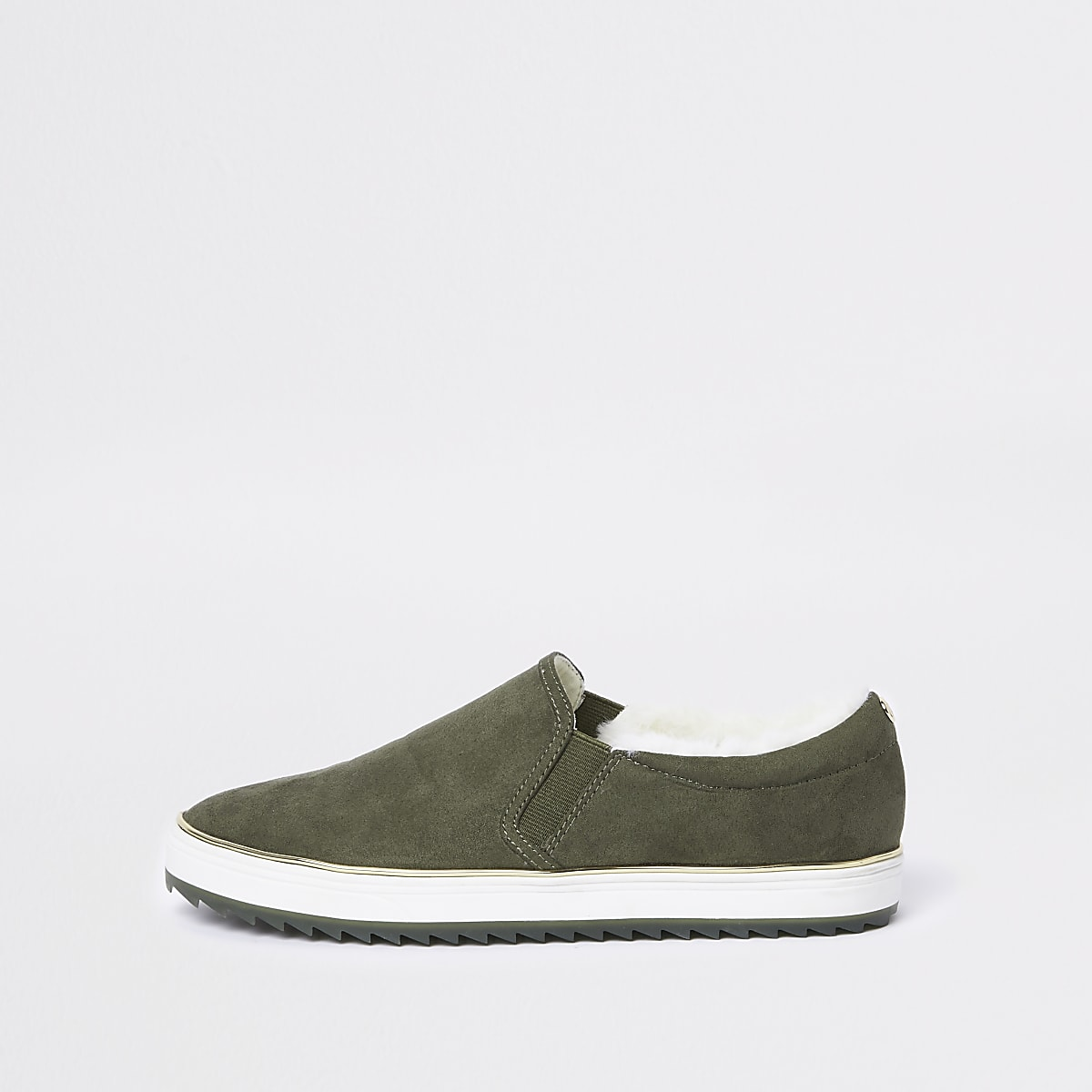Khaki faux fur lined slip on trainers