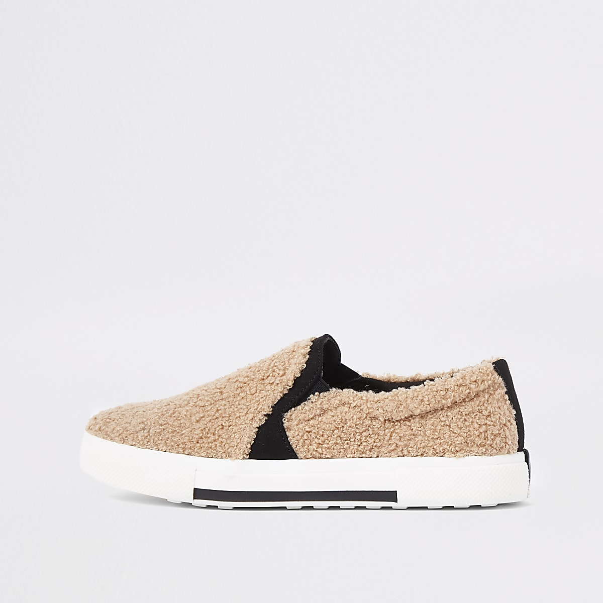 Beige shearing slip on sliders