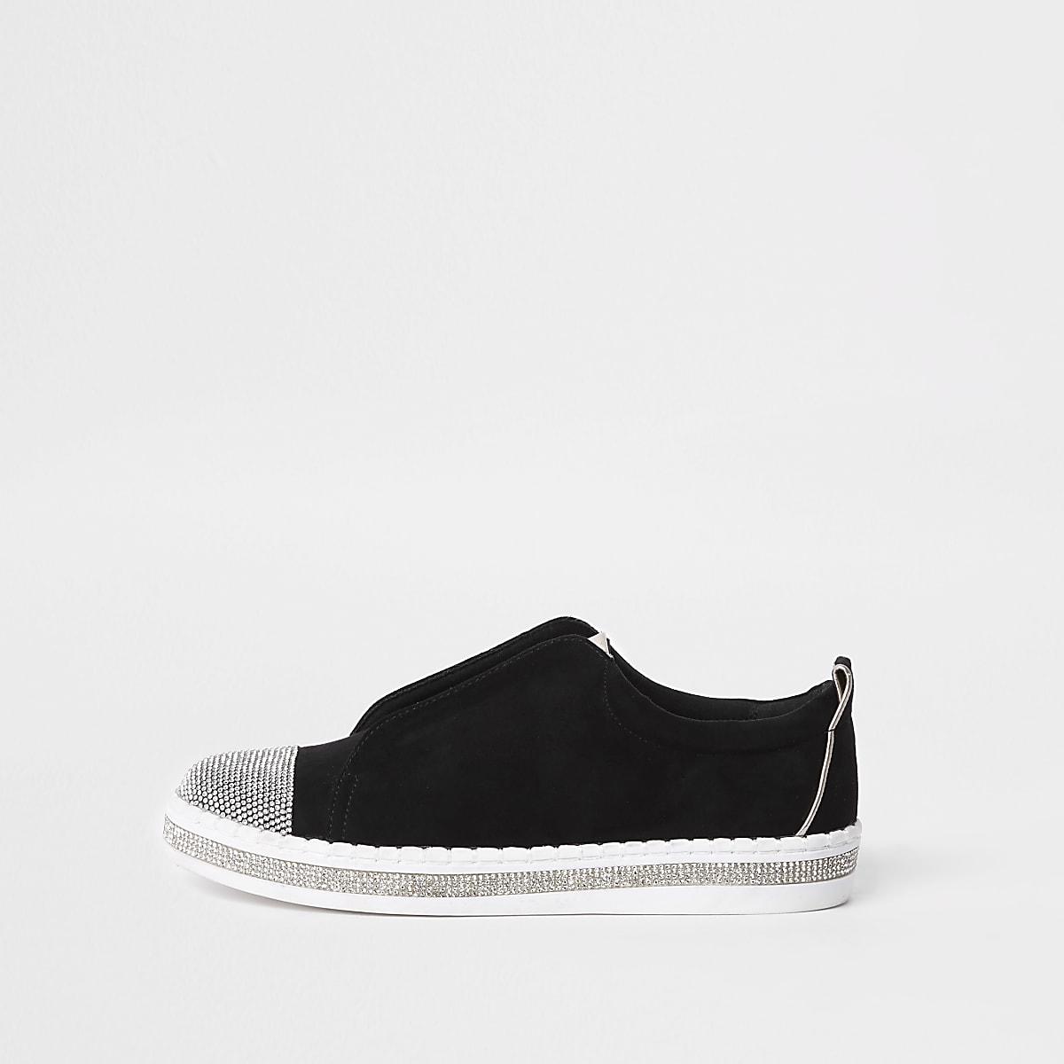 Black rhinestone embellished sneakers
