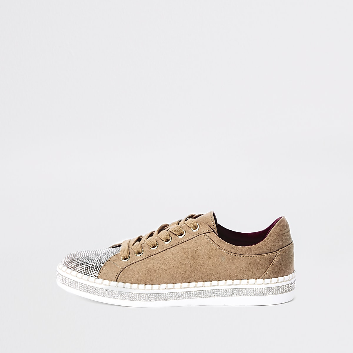 Beige glitter lace-up trainers