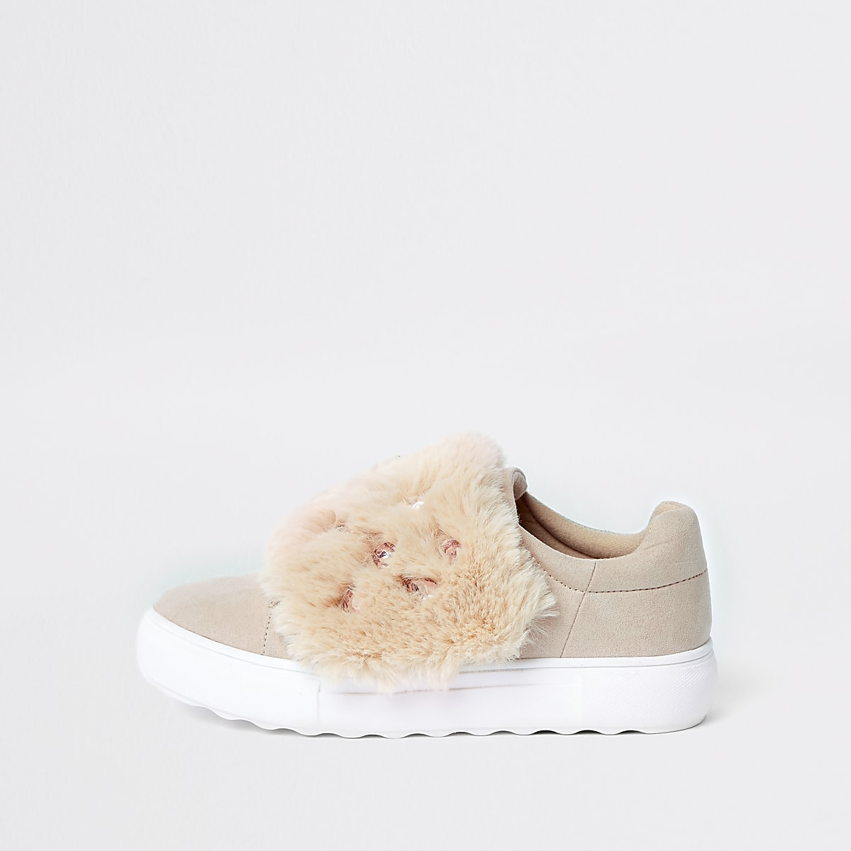 Pink faux fur gem velcro sneakers