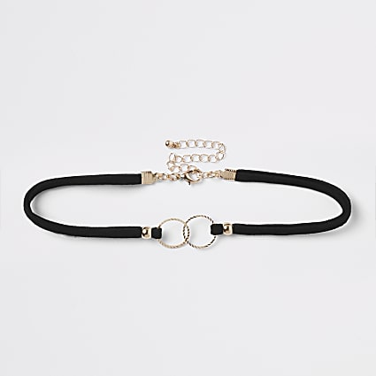 Black interlink embellished circle choker